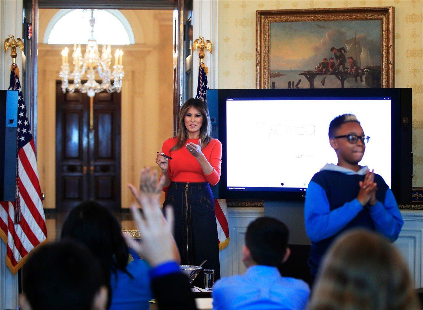 Image result for No Big Deal: First Lady Comforts Student Who Accidentally Knocks A Drinking Glass Off The Table