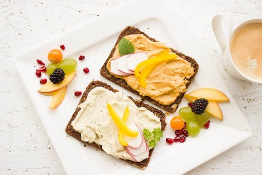 아침 식사, 건강한, 화려한, 후 머 스, 확산, 통밀빵, 통 밀, 커피
