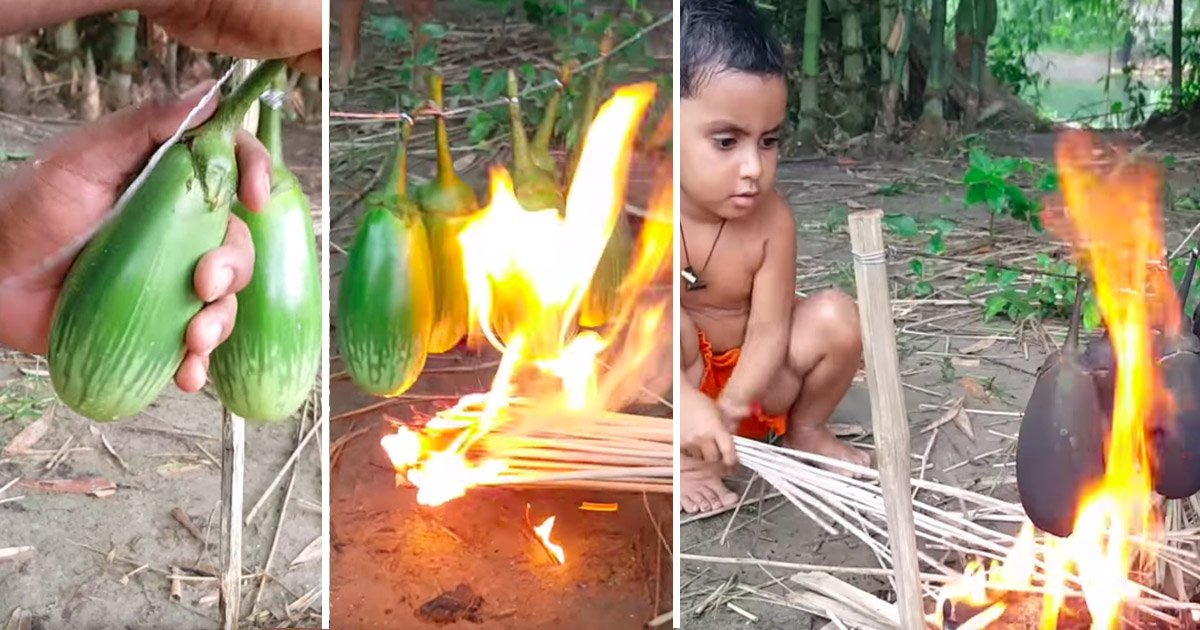 babyfire.jpg?resize=412,232 - It Looks Like Kids Are Playing With Eggplants & Sticks. But When They're Done—It's Delicious
