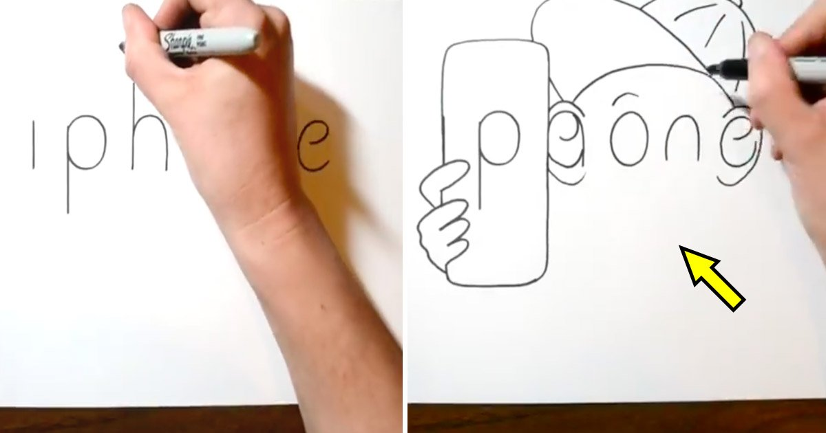 cartoon.jpg?resize=1200,630 - An Artist Doodles Like a Pro- Watch How He Spells 'iphone' and Transforms It into an Adorable Sketch