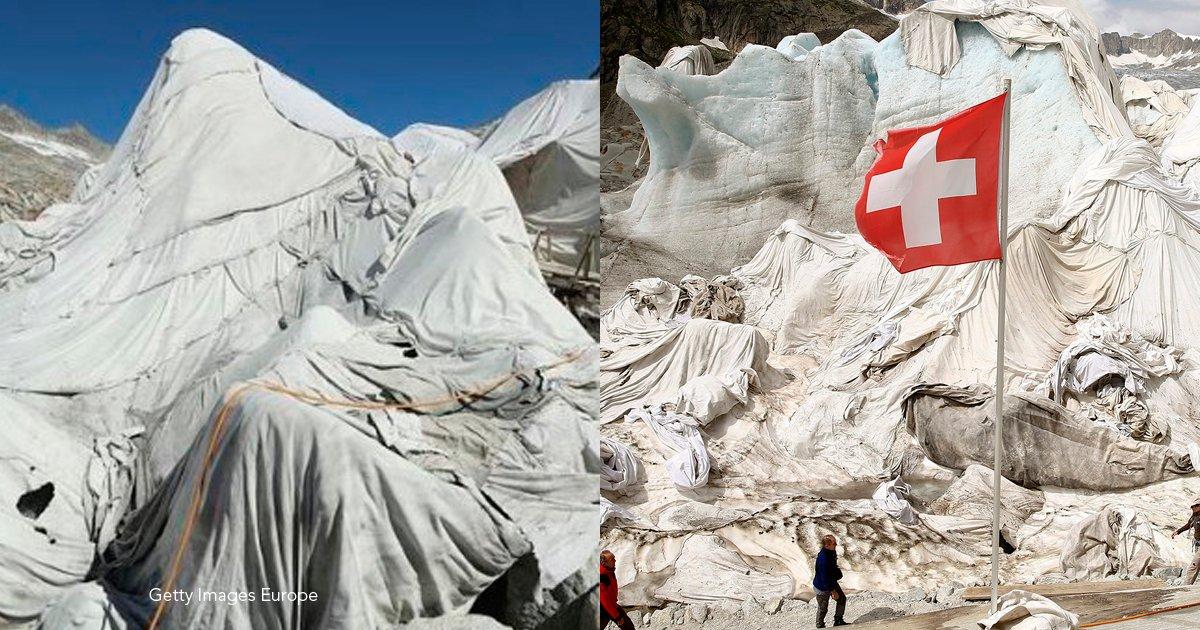 cold - Suizos envuelven con una manta gigante un glaciar para prevenir que se derrita