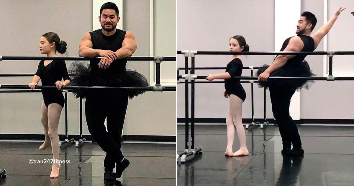 cover22ballrt - Este padre para hacer feliz a su hija se puso un tutú y tomó con ella su clase de ballet, ¡tienes que ver el video!