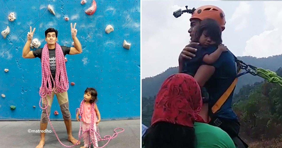 cover22climb - Pequeña de 2 años le pide a su madre aventarse de bungee, observa el impactante video