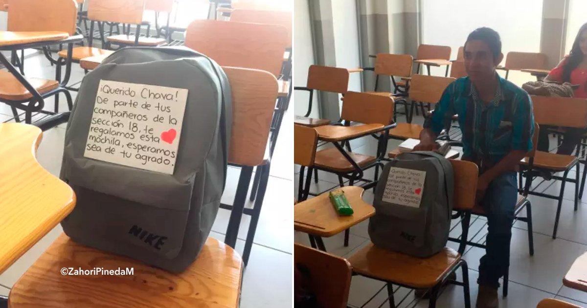 cover22mochuila.jpg?resize=300,169 - Un joven estudiante no tenía recursos para tener una buena mochila y lo que hicieron sus compañeros ha conmovido a muchos