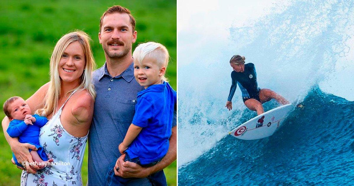 cover22surf - Luego de 14 años de haber perdido el brazo por un tiburón, esta surfista profesional le da la bienvenida a su segundo hijo