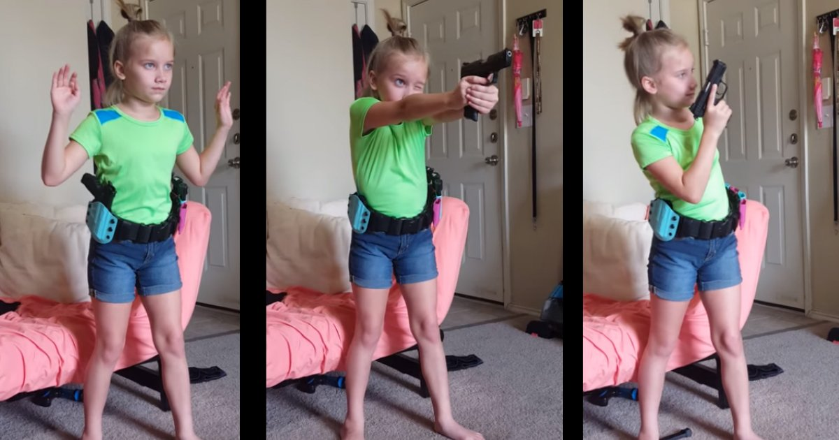 firearm pricess.jpg?resize=1200,630 - [Vidéo] Un papa filme sa fille montrant son incroyable aptitude à manier des armes à feu.