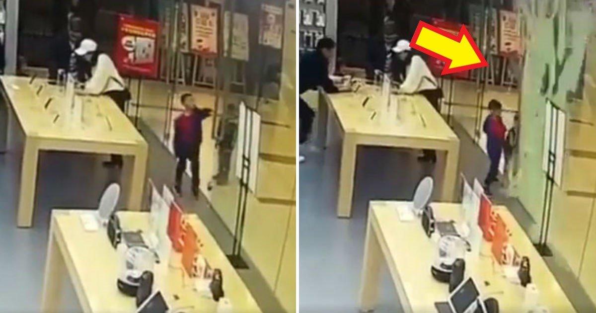 rqwe - La porte en verre d'un Apple Store se brise. Un garçon de 4 ans victime de plusieurs coupures.