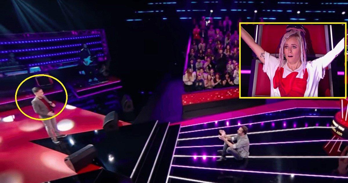 shy.jpg?resize=1200,630 - Ce timide garçon reprenant Céline Dion obtient une standing ovation sur 'The Voice Kids'