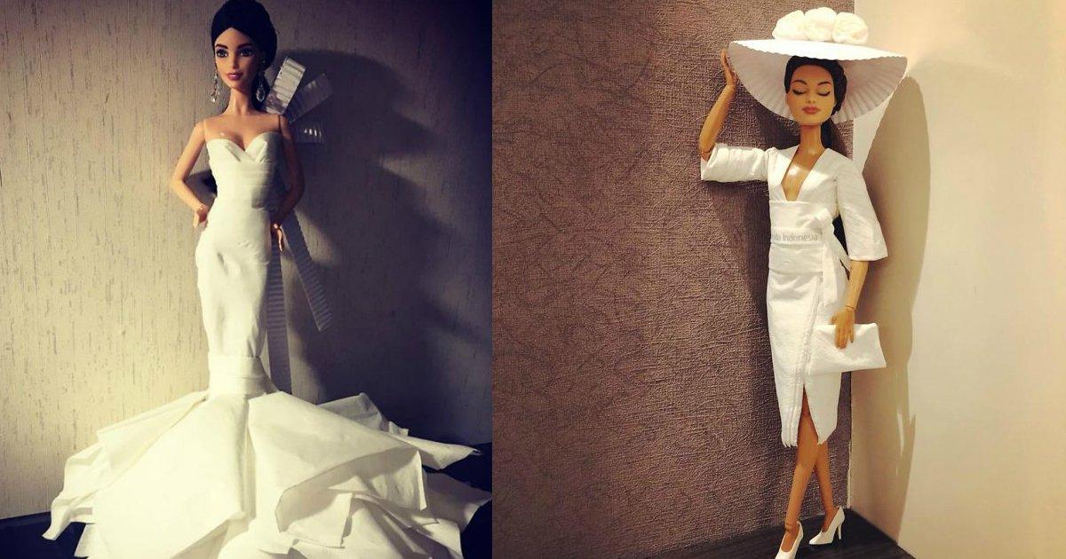 tissue weddingdress - O homem usa o papel higiênico para fazer vestidos de casamento para Barbies, o  resultado prova que a arte não tem limites