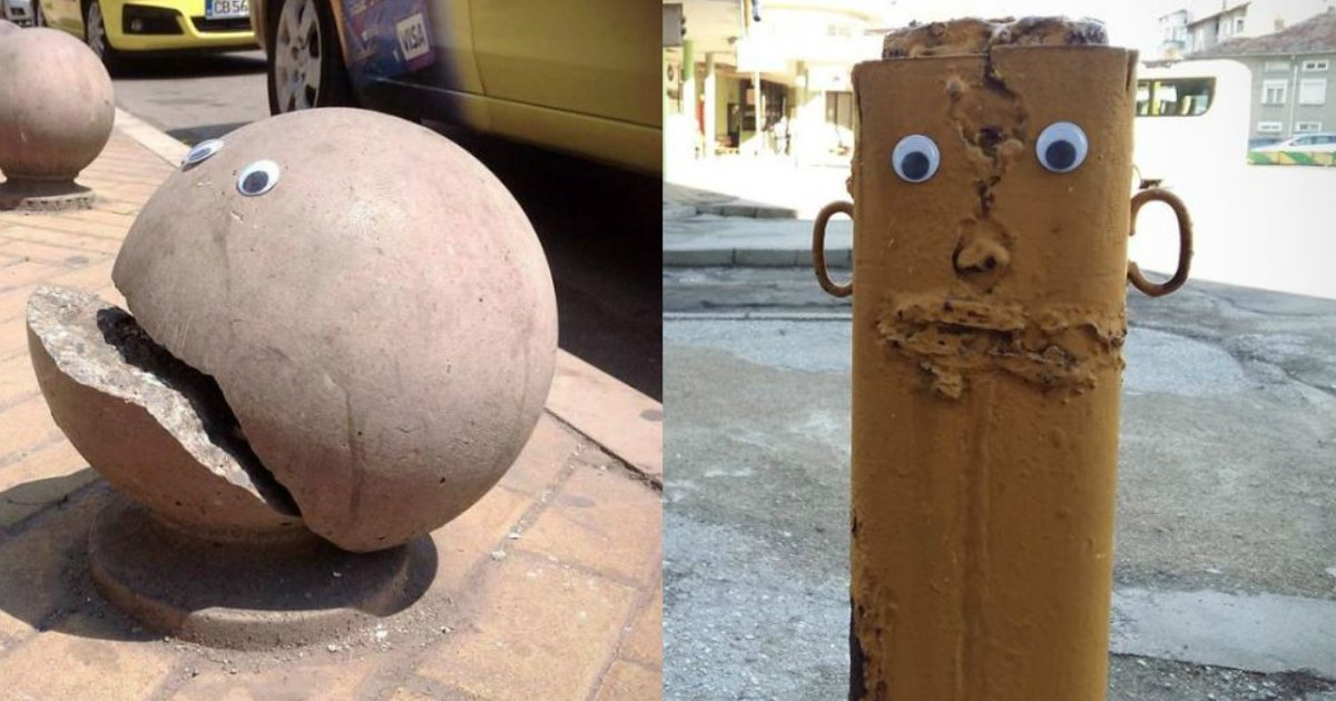 trash to art - From Broken Street Objects To Art - Someone Knows How To Make Use Of Googly Eyes
