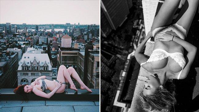 180525 101 1.jpg?resize=1200,630 - 美女在屋頂大拍性感照,遊走「邊緣」看得忍不住心驚膽跳