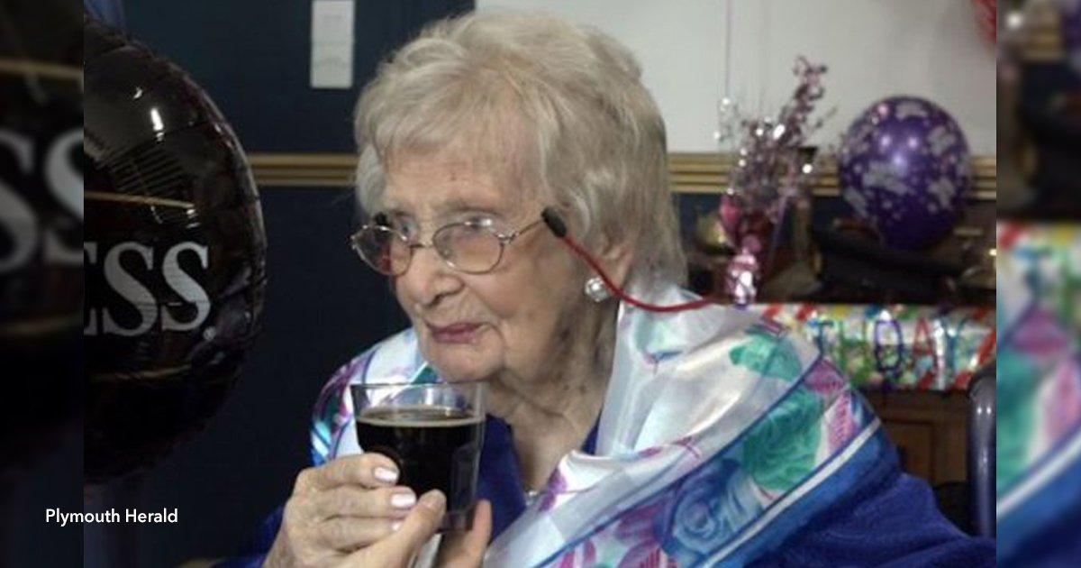 6 viej.jpg?resize=648,365 - Una anciana llegó a los 100 años y afirma que su secreto es beber cerveza