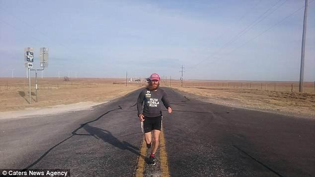 Rob Pope, 39, from Liverpool, has spent 19-months running the equivalent of 590 marathons in order to recreate the route taken by Forrest Gump in the film