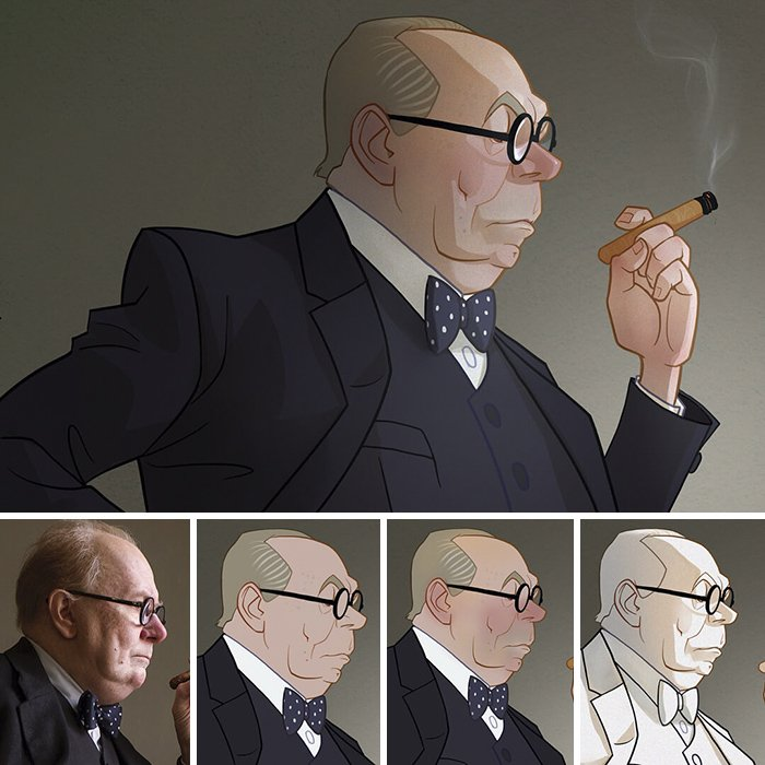 Artist Makes Incredible Illustrations Of Movie Characters At Spontaneous Moments