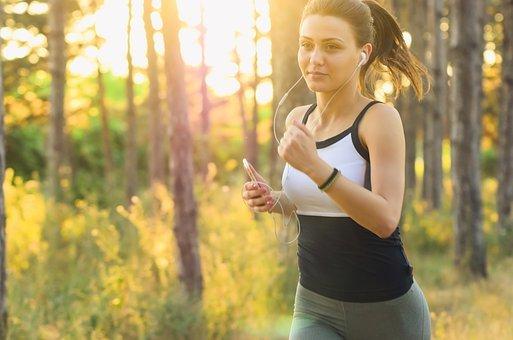 사람들, 여자, 운동, 적합, 조깅, 실행, 이어폰, 음악, 소리