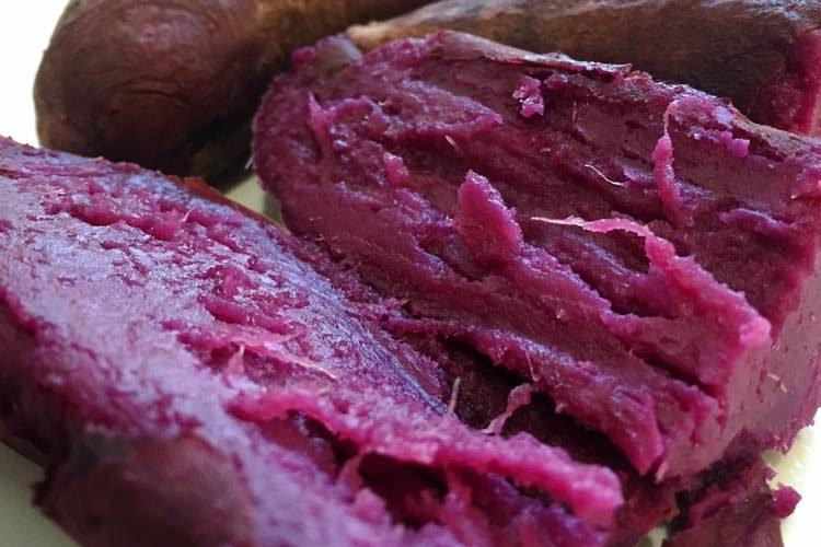 patates douces violettes cuites au four