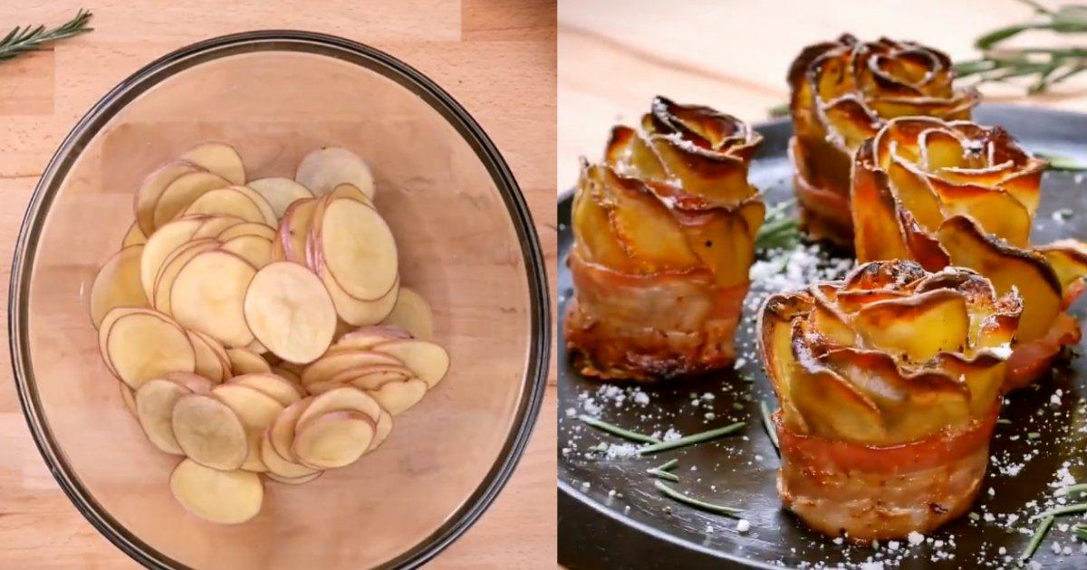 """bacon roses.jpg?resize=412,232 - Comment faire de délicieuses """"roses"""" en utilisant des pommes de terre enveloppées dans du bacon croustillant"""