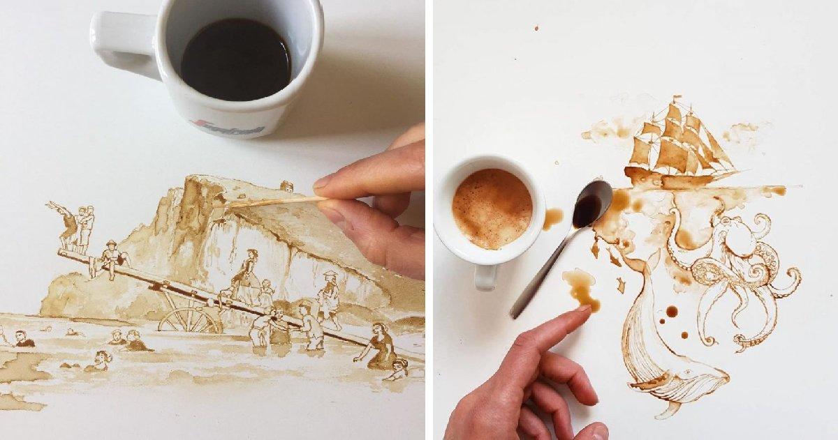 bbbbbbbbbbbbbbbbbbbbbb.png?resize=412,232 - 실수로 흘려버린 커피 조차 '예술'로 승화시키는 '아티스트' (그림)