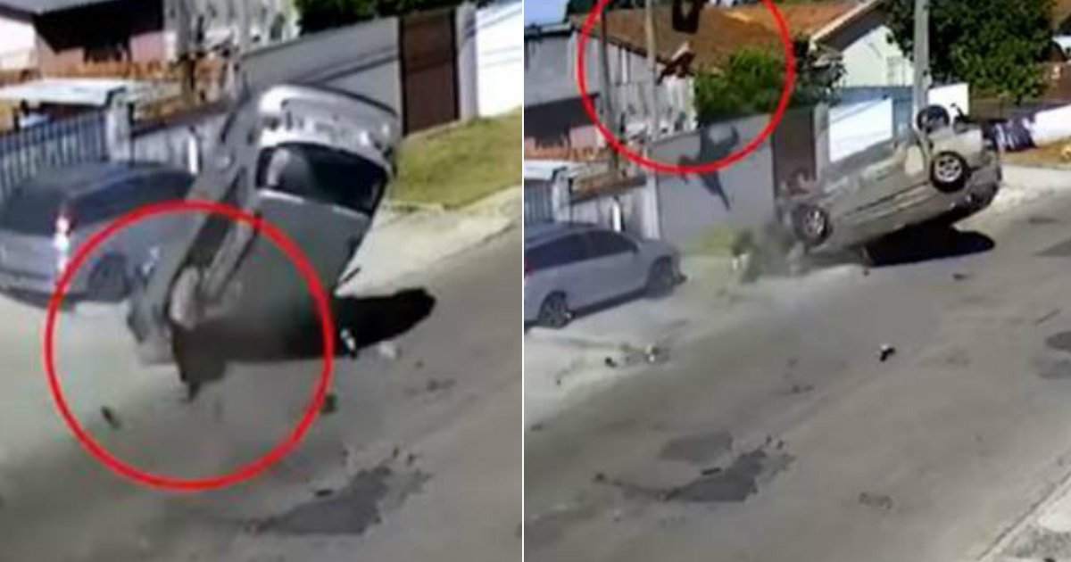 car thief crash.jpg?resize=648,365 - The Footage Reveals Car Thief Flying Through The Air As The Vehicle Crashes During Police Chase, And He Ejected From Car