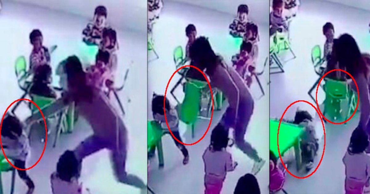 cover22cam.jpg?resize=648,365 - Es captado en una cámara de seguridad el momento en que una maestra pierde la paciencia y empuja a su pequeña alumna.