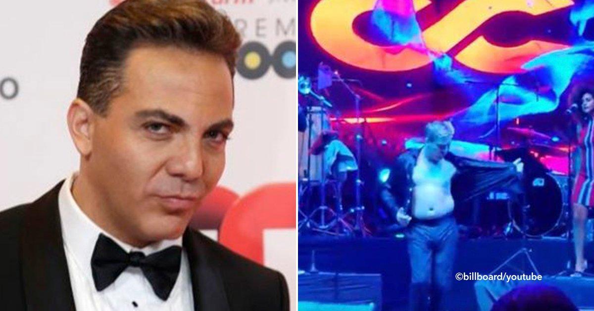 cover22cris.jpg?resize=1200,630 - Cristian Castro en pleno concierto se quita la camisa y sin complejos muestra su evidente sobrepeso
