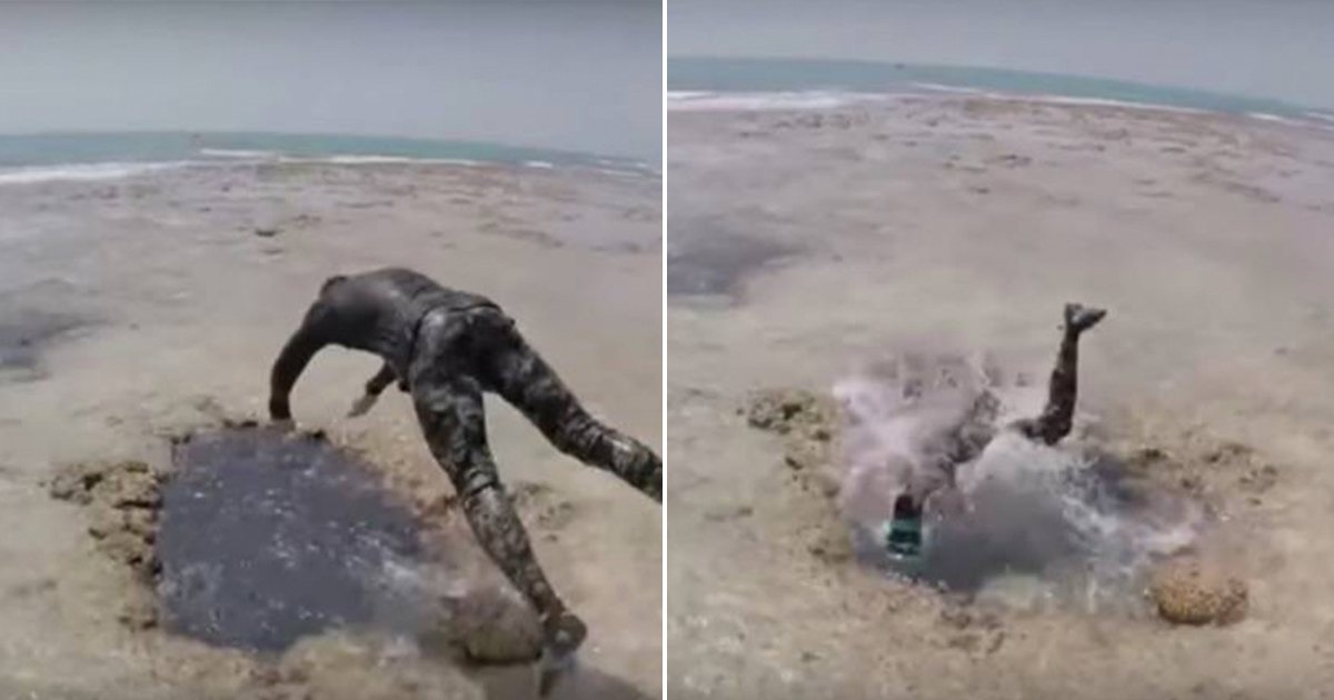 cover22vbc.jpg?resize=300,169 - Aventureiros se jogam em um buraco na areia, desaparecem e surgem alguns metros dentro do mar