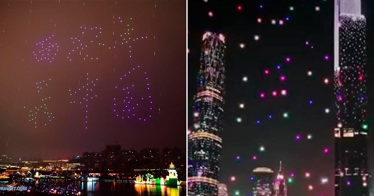 droncover22f.jpg?resize=648,365 - Se despliegan en el cielo más de mil drones en China llenando el cielo de colores, un espectáculo insólito