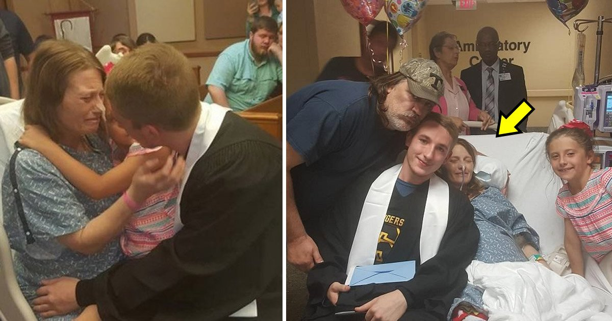 dyingmom.jpg?resize=300,169 - Dying Mother Gets to See Her Son Graduate