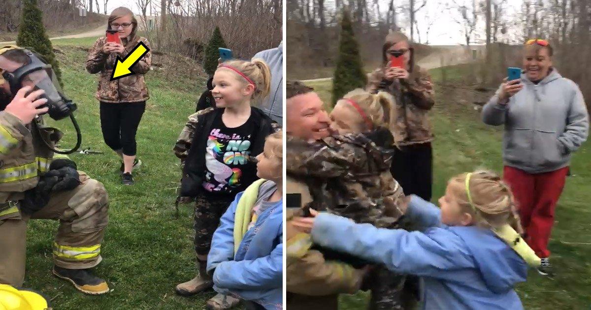 fire.jpg?resize=648,365 - Deux petites filles n'ont pas laissés partir un pompier après qu'il ait enlevé son masque.