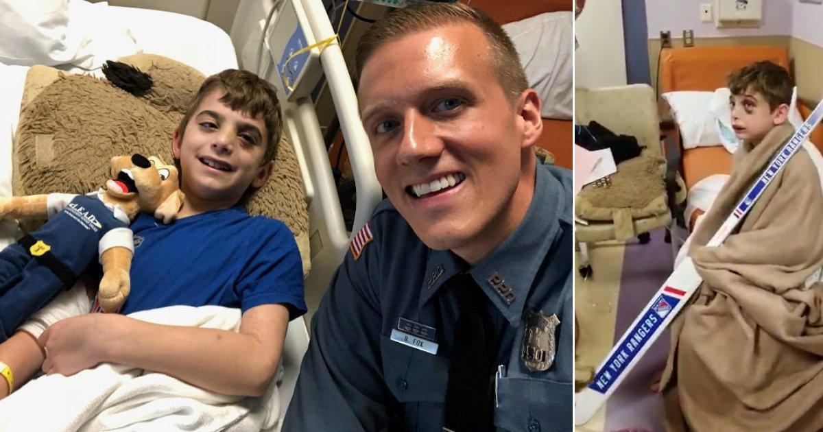 gift from hero.jpg?resize=300,169 - Un petit garçon blessé dans un accident de bus reçoit une crosse de hockey signé de son idole