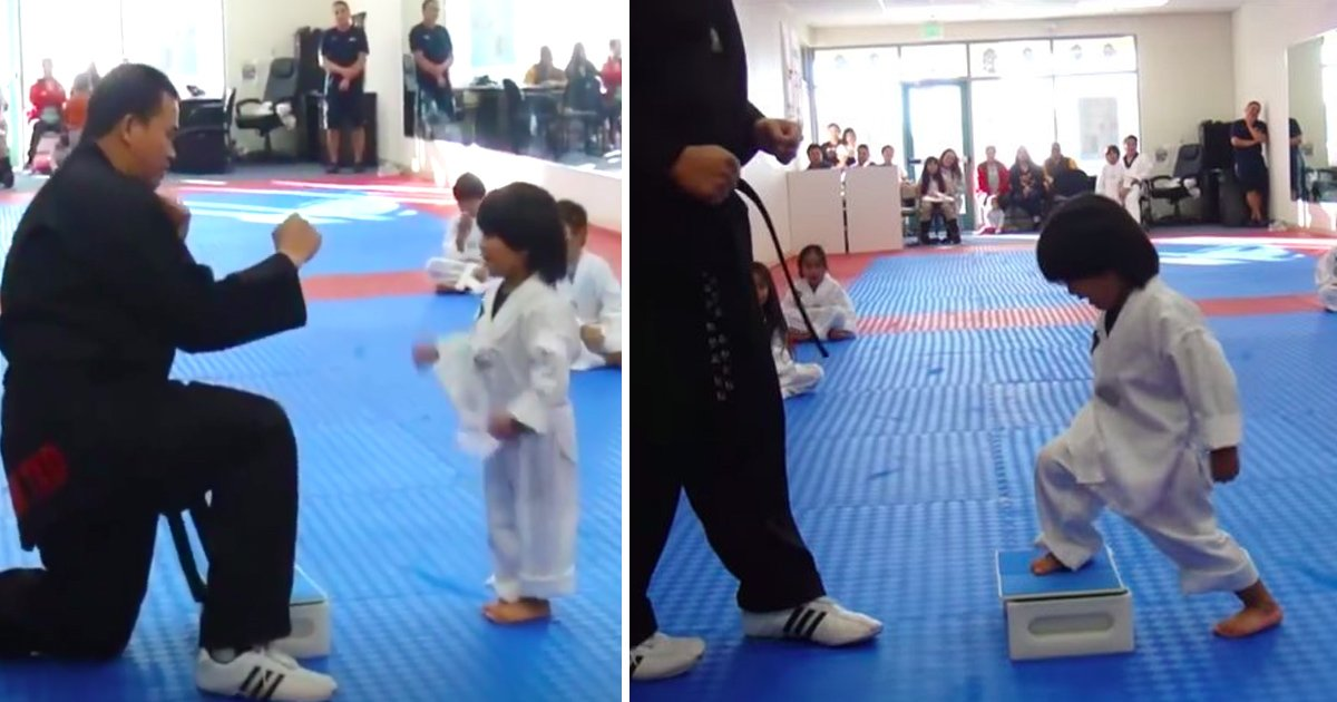 kid 2.jpg?resize=300,169 - Hilarious Video Shows Cheeky Three-Year-Old Trying To Smash a Board to Earn His Taekwondo White Belt
