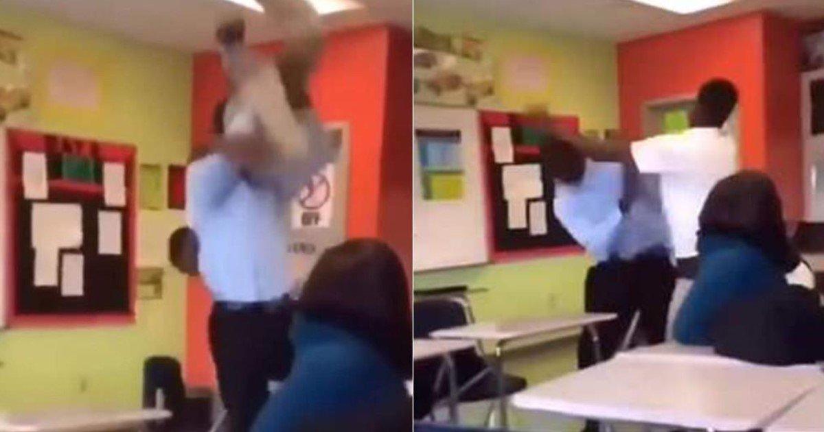 pic copy 12.jpg?resize=1200,630 - Une séquence vidéo affligeante montre une impressionnante bagarre entre un professeur et un élève.