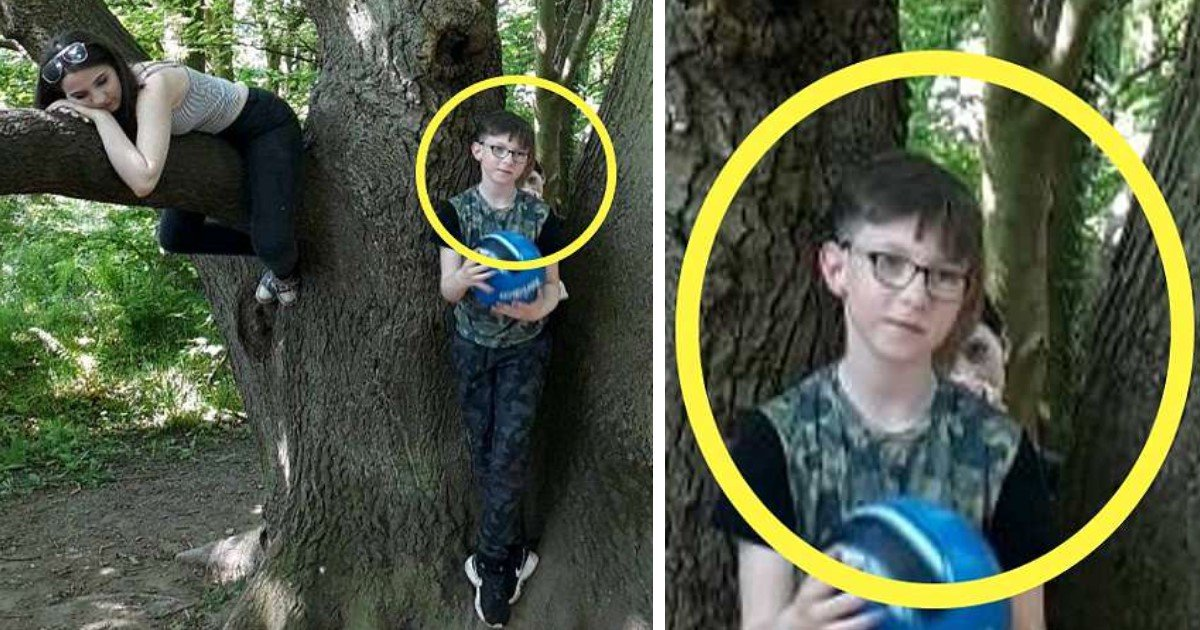 pic copy 24.jpg?resize=1200,630 - Mother-Of-2 Captures Terrifying Picture Of A 'Ghost Child' Standing Behind Her 9-Year-Old Son With A Hand On His Shoulder
