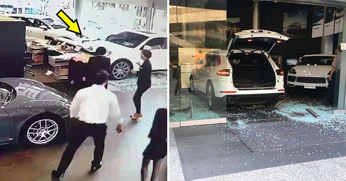 porsche.jpg?resize=300,169 - Livrée sans les options demandées, un homme d'affaires crashe sa Porsche dans la boutique de son concessionnaire.
