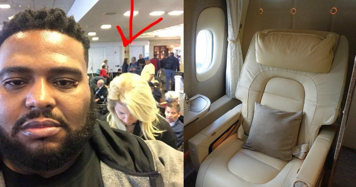 racist woman.jpg?resize=300,169 - Une femme raciste interpelle un homme noir dans la file d'embarquement en première classe. Sa réponse a été saluée par la foule.