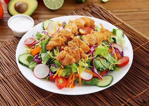「サラダ 揚げたチキン」の画像検索結果