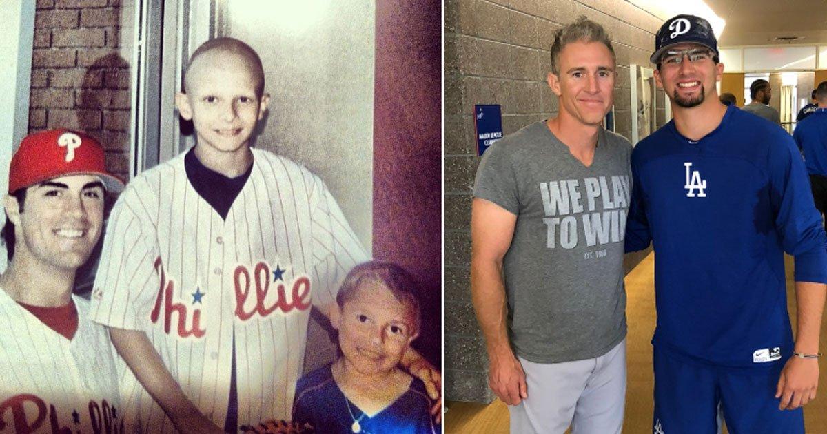 untitled 1 17.jpg?resize=1200,630 - Un amateur de baseball atteint d'un cancer rare rencontre une star de baseball, des années plus tard, le fan et la star de baseball se retrouvent