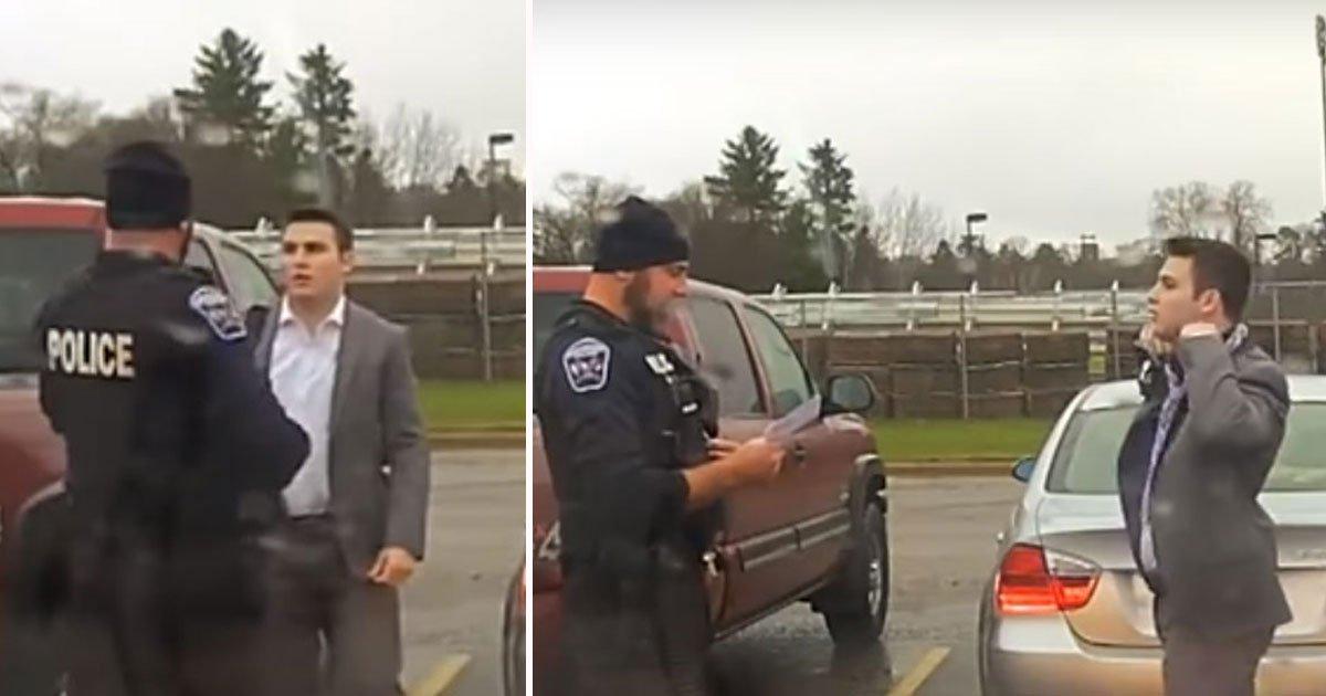untitled 1 8.jpg?resize=574,582 - Un policier remarque qu'un étudiant en excès de vitesse et lui apprend à nouer une cravate