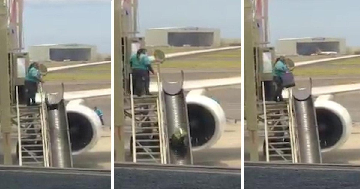 vv.jpg?resize=1200,630 - This Is Why Your Suitcases Look So Damaged: Airport Worker Carelessly Tossing Passengers' Bags Into The Air Down A Metal Chute