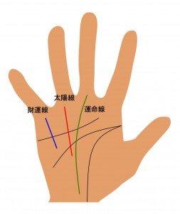 Image result for 運命線 太陽線 財運線