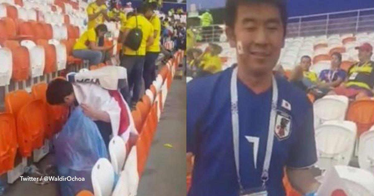 1 cov 9.jpg?resize=412,232 - Luego del partido, aficionados japoneses decidieron limpiar la basura que dejaron los colombianos en el estadio en Rusia