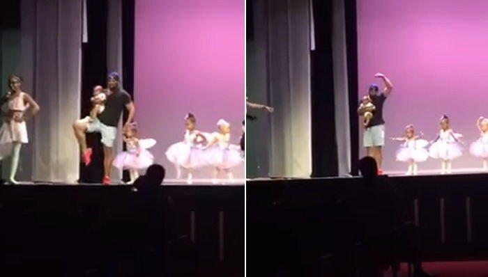 94f2tjdjro51l8756af5.jpg?resize=1200,630 - 「学芸会」で緊張する娘と舞台に一緒に出て踊る「超優しい」パパ