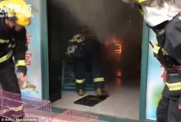 Les pompiers ont dû ouvrir la porte en métal du magasin, qui n'était pas encore ouvert.