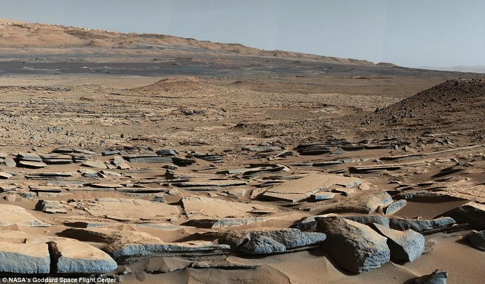 The rover extracted and heated samples from Mojave and Confidence Hills in the Gale Crater – both of which are known to contain mudstones dating back roughly three billion years. A panorama of Gale Crater is pictured