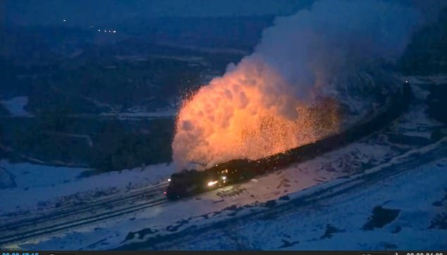 Incredible footage shows sparks flying from a steam train creating a spectacular display as the locomotive powers through the night