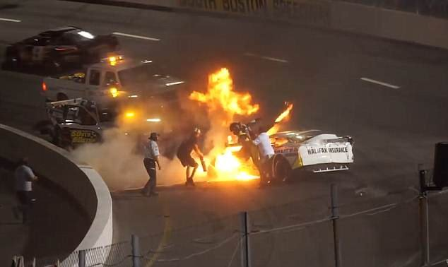 Mike Jones was spiraling out of control and was sent to crashing into the walls after he collided into another motorist, his car went up in flames at the South Boston Speedway in Virginia