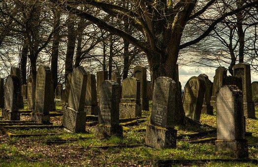 유태인 묘지, 묘지, 조용한, 저녁 하늘, 삭제 표시, 휴식, 상, 무덤