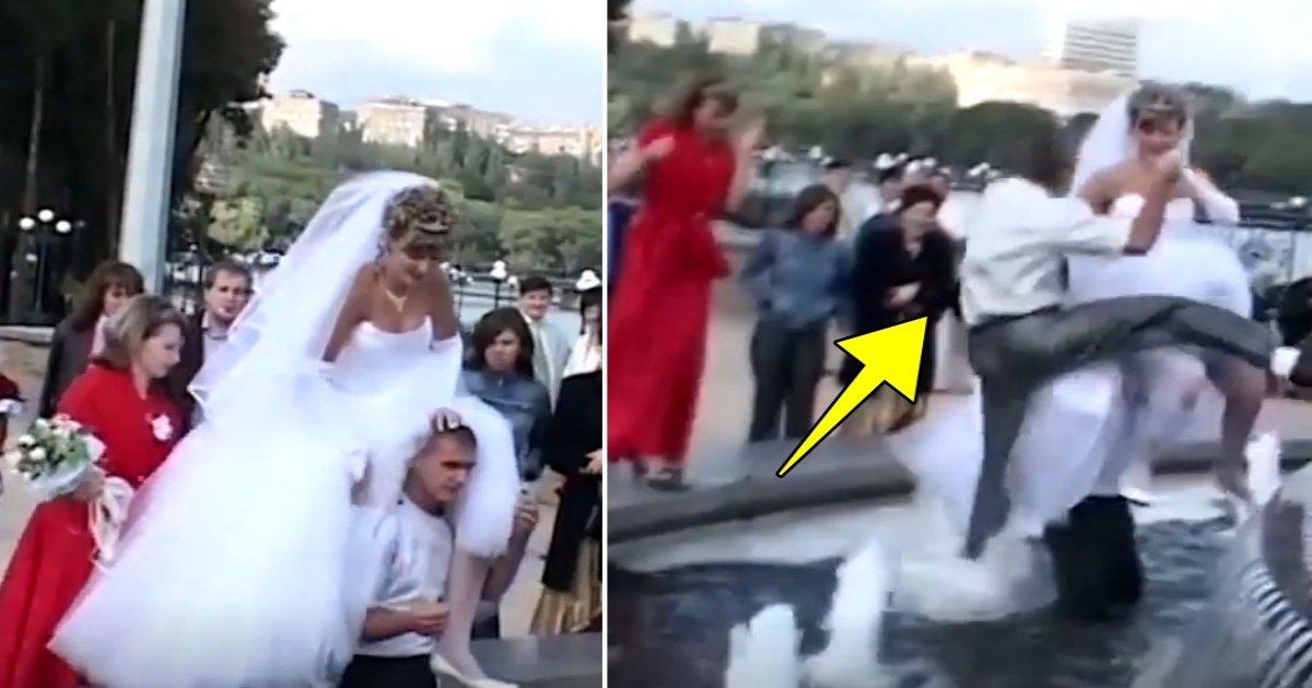 a side 6.jpg?resize=1200,630 - Les mariés décident de prendre une photo dans la fontaine, ce qui arrive est hilarant