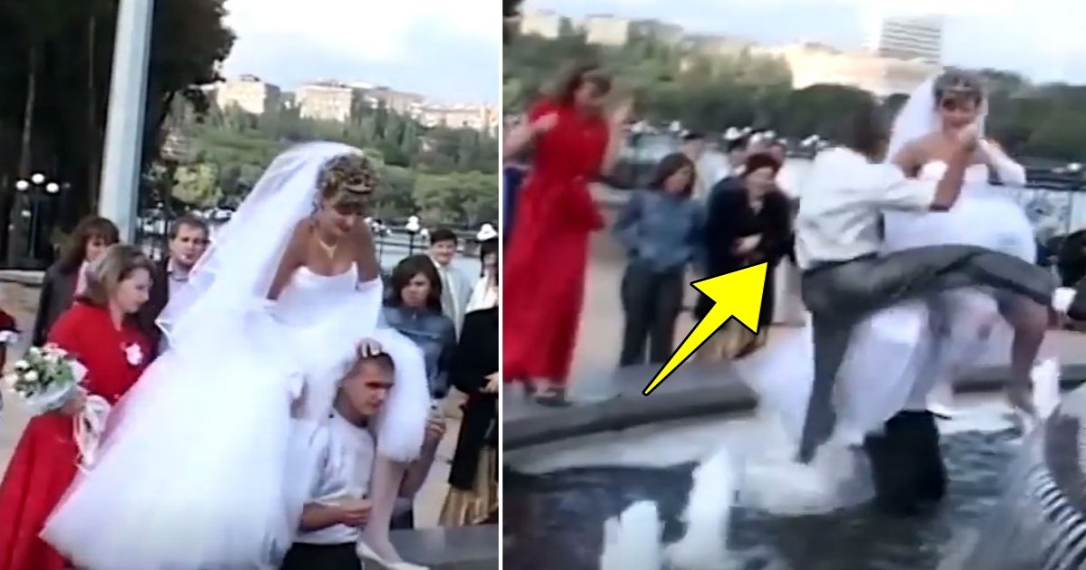 a side 6.jpg?resize=412,232 - Groom Waits For Bride To Cross Water To Reach Fountain, But What Happened Next Is Hilarious To Watch