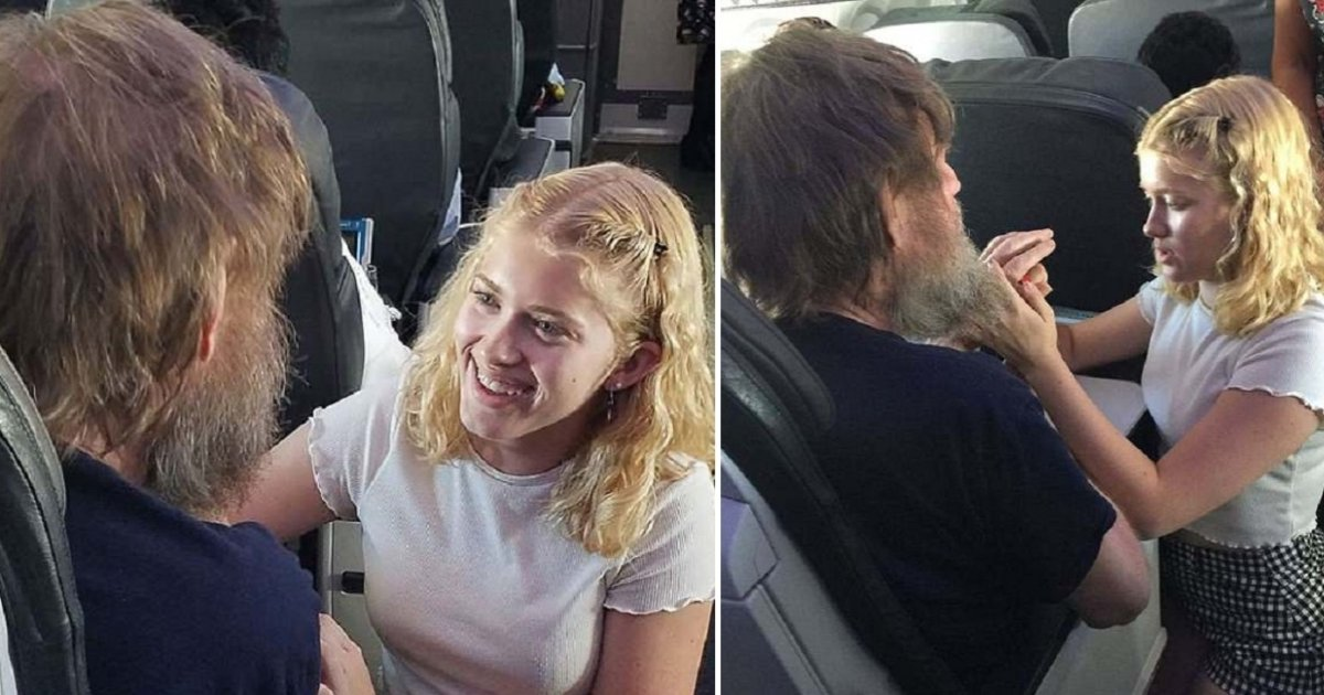 a side 7.jpg?resize=636,358 - Heart-warming Moment Girl Uses Sign Language To Relax Deaf And Blind Passenger During Flight